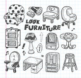 Doodle Furniture icons Royalty Free Stock Photos