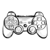 Doodle gamepad on a white background Stock Photo
