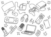 Doodle games game art with gaming tools hardware and black and white color. Vector illustration stock illustration
