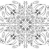 Doodle garden design with a circle shape. there are leaves, stems, flowers, beetle insects, butterflies. and ornate ornaments. sha. Ped circle and symmetrical vector illustration