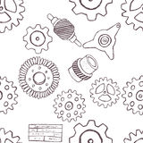 Doodle gears seamless pattern Stock Image