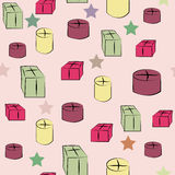 Doodle Gift boxes seamless pattern Royalty Free Stock Photos