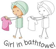 Doodle girl in bathtowel royalty free illustration