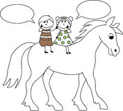 Doodle Girl and boy on a Horse with speech bubble Stock Photos