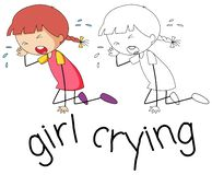 Doodle girl crying character royalty free illustration