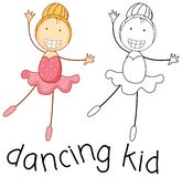 Doodle girl dancing ballet stock illustration
