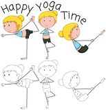 Doodle girl doing yoga stock illustration