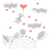 Doodle Girl Flies on Ball in the Rain of Hearts Stock Images