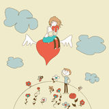 Doodle Girl Flies on the Heart over a Boy vector Royalty Free Stock Photo