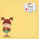 Doodle girl with gift Royalty Free Stock Photos
