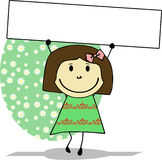 Doodle girl holding blank banner sign. Royalty Free Stock Images