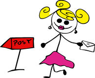 Doodle girl with letter Stock Photography