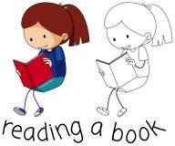 Doodle girl reading book stock illustration