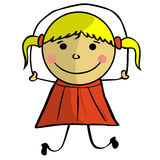 Doodle girl with skipping-rope Stock Photos
