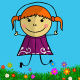 Doodle girl with skipping-rope Royalty Free Stock Photos
