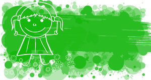 Doodle girl with skipping-rope on green banner Stock Photo