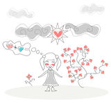Doodle Girl standing in front Tree Flower of Royalty Free Stock Photo