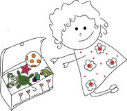Doodle Girl with toys Stock Image