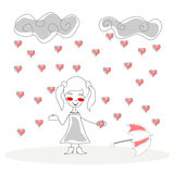 Doodle girl with umbrella under rain of hearts  Stock Images