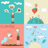 Doodle Girls and Boys Characters with Heart Royalty Free Stock Photos