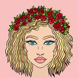 Doodle girls face. Womens portrait with wreath of roses. Vector illustration. royalty free illustration