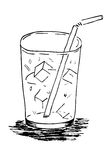Doodle Glass with Ice Cube and Straw Stock Image