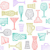 Doodle glasses seamless colored Royalty Free Stock Image