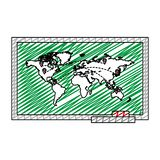 Doodle global map with locations symbols destinations. Vector illustration stock illustration