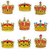 Doodle of gold crown elegant collection Royalty Free Stock Photos