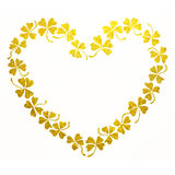 Doodle golden clover shamrock heart line art  Royalty Free Stock Photo