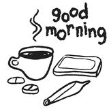 Doodle good morning, coffee, tablet, mobile phone and marijuana joint Royalty Free Stock Images