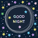 Doodle good night card background template. Stock Photo