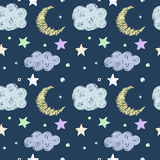 Doodle good night seamless pattern background template Stock Image