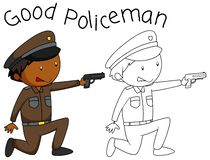 Doodle good policeman character vector illustration