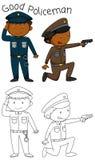 Doodle good policeman character stock illustration
