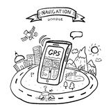 Doodle gps navigation Stock Photography