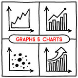 Doodle graph icons set. Four different charts. Hand drawn infographic symbols. Line art style graphic design elements Stock Image
