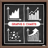 Doodle graph icons set. Hand drawn charts and graphs icons set. Chalkboard doodle. Infographic symbols. Line art style graphic design elements Stock Image