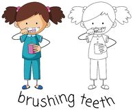 Doodle graphic of brushing teeth royalty free illustration