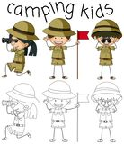 Doodle graphic of camping kids vector illustration
