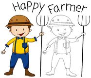 Doodle graphic of farmer royalty free illustration