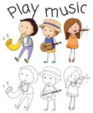 Doodle graphic of musician stock illustration