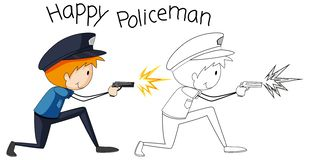 Doodle graphic police man vector illustration