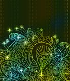Doodle green bright color floral background Royalty Free Stock Photos