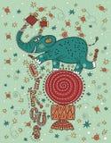 Doodle, green circus elephant acrobat balancing Stock Photography