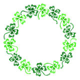 Doodle green clover shamrock circle wreath  line art isolated Royalty Free Stock Image