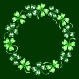 Doodle green clover shamrock circle wreath  line art isolated Stock Photos