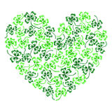 Doodle green clover shamrock heart  line art isolated Royalty Free Stock Images