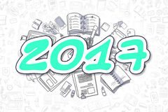 2017 - Doodle Green Word. Business Concept. Doodle Illustration of 2017, Surrounded by Stationery. Business Concept for Web Banners, Printed Materials Stock Photography