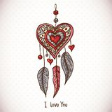 Doodle Greeting Card with Dream catcher and heart Stock Images